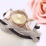 Дамски часовник с кожена гривна обсипан с черни и бели камъни